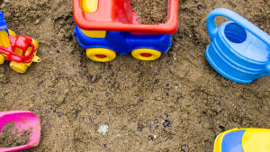 toys in a sand box