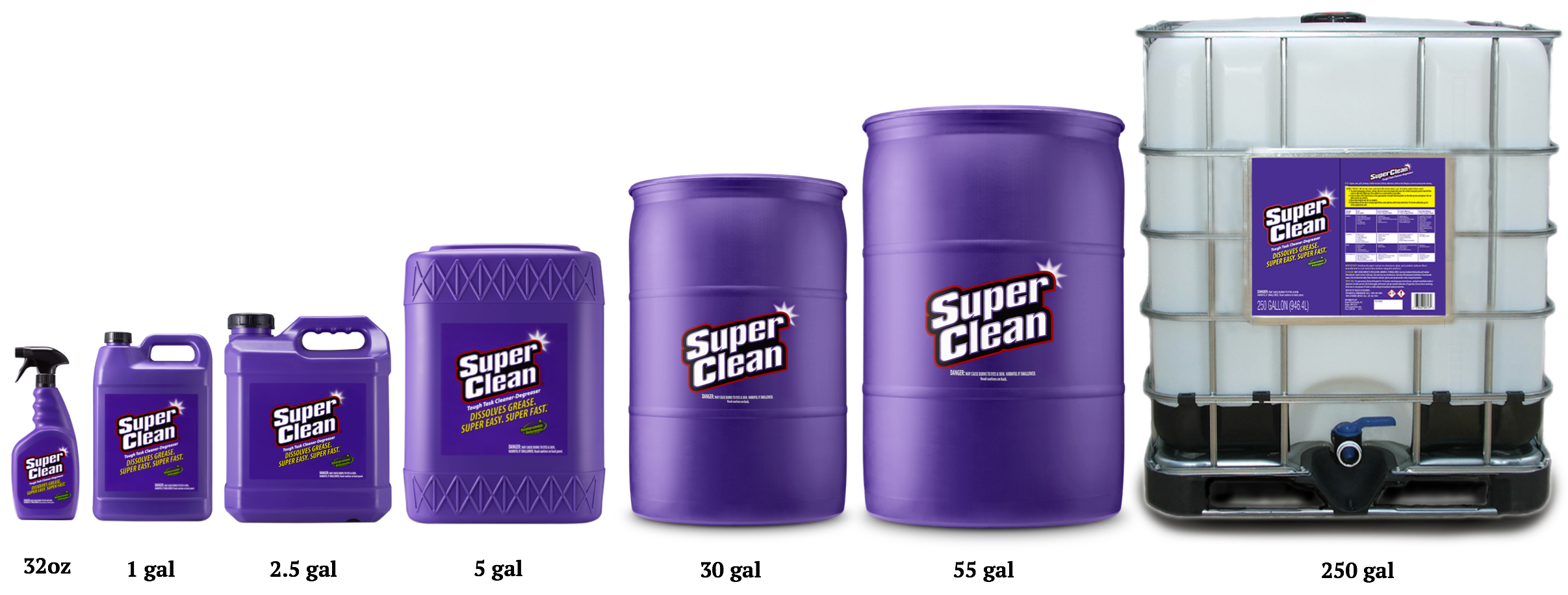 Sizes of Super Clean products from 32 ounces to 250 gallons