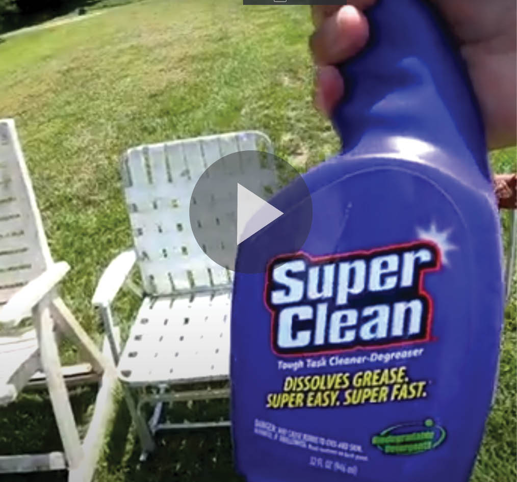 Still frame of patio furniture to clean with super clean