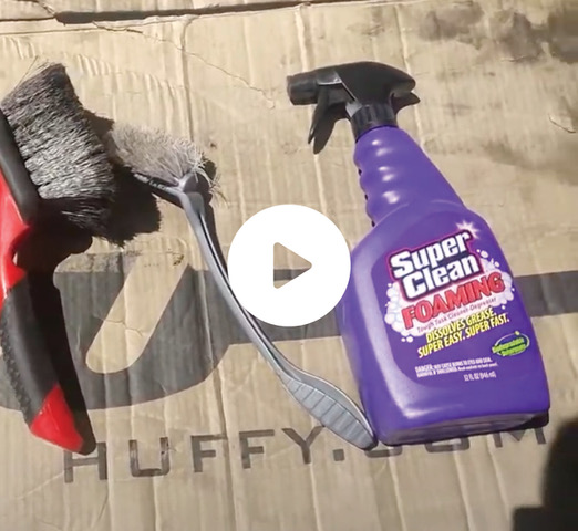 Still shot of Super Clean Foaming bottle and tools video