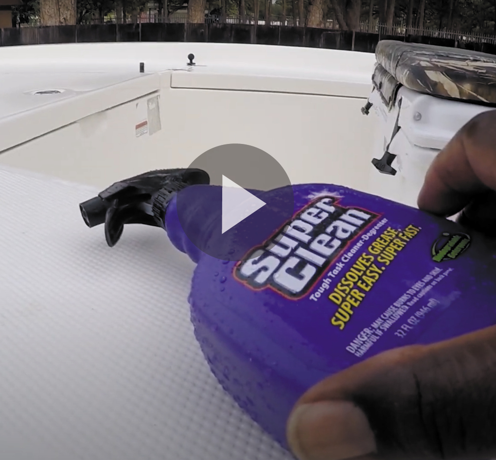 Still frame of video cleaning boat deck with super clean