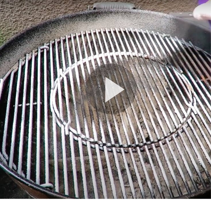 Still frame of video of grill grates with Super Clean applied